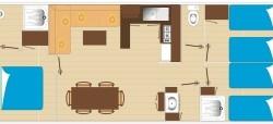 plan mobil home 6 à 8 personnes 2 salles de bain